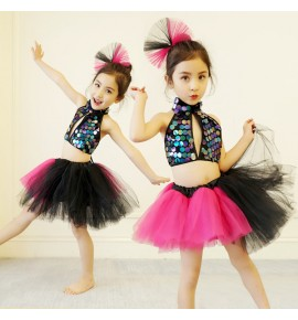 Girls jazz modern dance dresses pink sequin flower dress kids chorus stage performance sequin princess dress