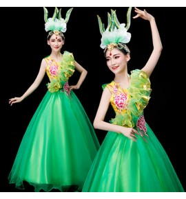 Women's ballroom flamenco dress petal green colored opening dance dresses stage performance costumes