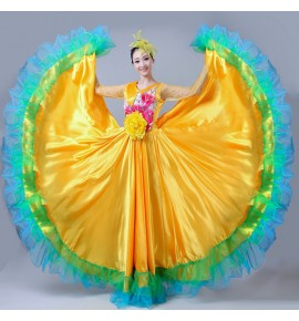 Women's ballroom dancing dress green yellow pink flowers dress flamenco Spanish opening bull dance dresses 720degree