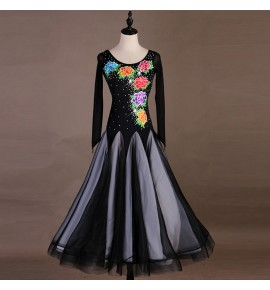 Women's girls ballroom dancing dresses flowers embroidered waltz tango dancing dresses costumes