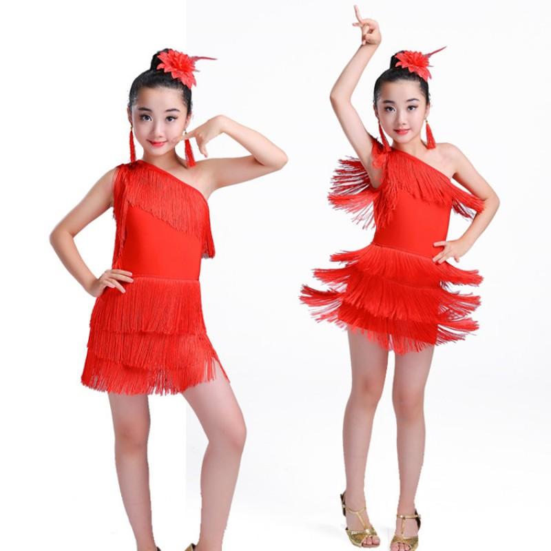 28e793506257 wholesale Girls latin dance dresses kids children tassels stage performance  salsa rumba chacha dance costumes dress