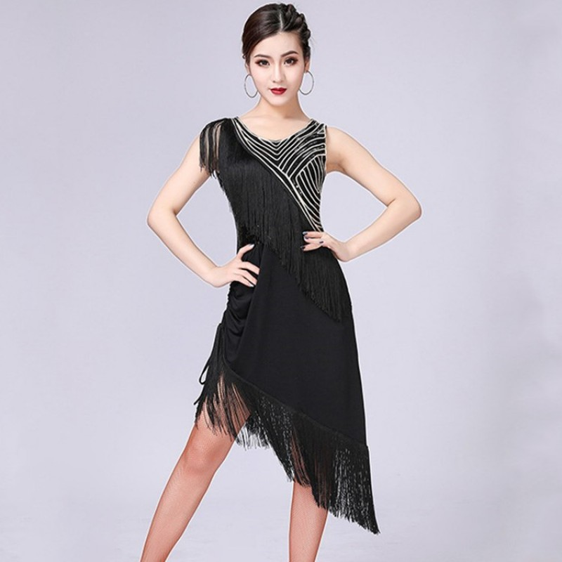 64e70ac1268 Women  s latin dance dresses black red blue tassels fringes competition girls  salsa rumba chacha ...