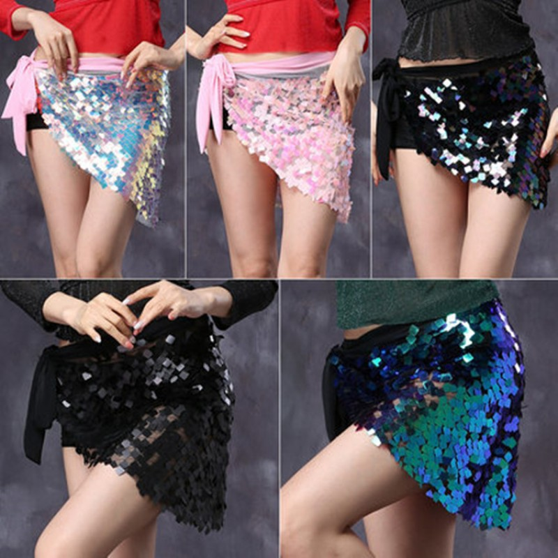Women's girls sequins lens belly dance hip scarf skirts indian queen belly costumes wrap skirt