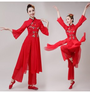 Women's Chinese folk dance costumes  red colored yangko ancient traditional classical hanfu fan umbrella dance dress costumes
