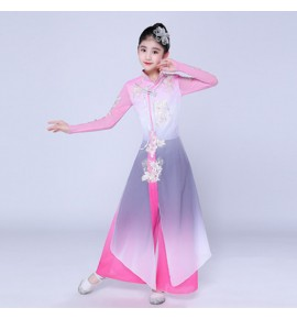 Girls chinese folk dance costumes pink colored kids children ancient traditional yangko hanfu fairy umbrella fan dance dresses