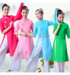 Girls chinese folk dance costumes kids children classical traditional ancient  yangko fan umbrella dance dresses