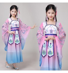 Girls chinese folk dance dresses pink colored kids children fairy hanfu princess Tang  Dynasty queen drama cosplay dress costumes
