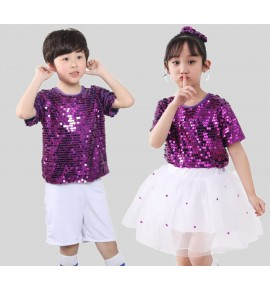 Children modern dance costumes purple boys girls jazz singers chorus stage performance dress princess performance costumes outfits