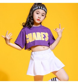 Girls children hiphop street dance costumes school competition modern dance stage performance cheer leaders gogo dancers outfits