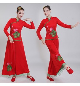 Women's chinese folk dance costumes female girls ancient traditional yangko umbrella fan dance dresses