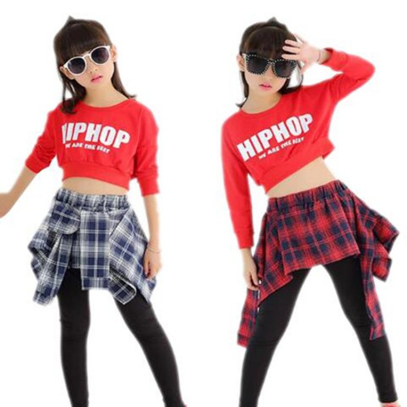 d46ad5d7f1a7 Child Girl Hip Hop Dance Costumes Students Jazz Clothes Modern Dancing Tops  & Culottes 2PCS Set ...