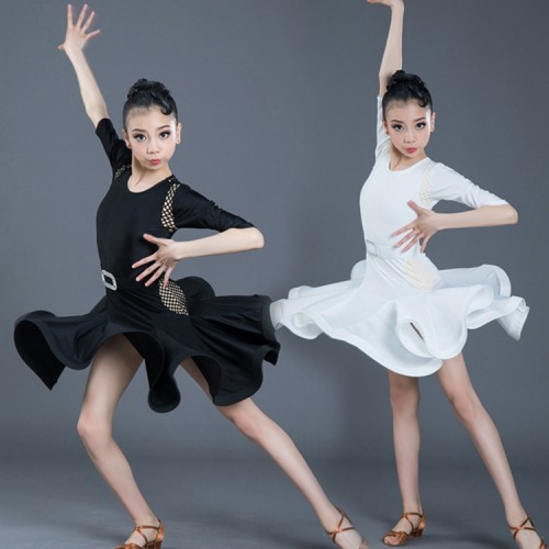 Girls latin dance dresses black colored competition stage performance rumba samba chacha dance dresses costumes