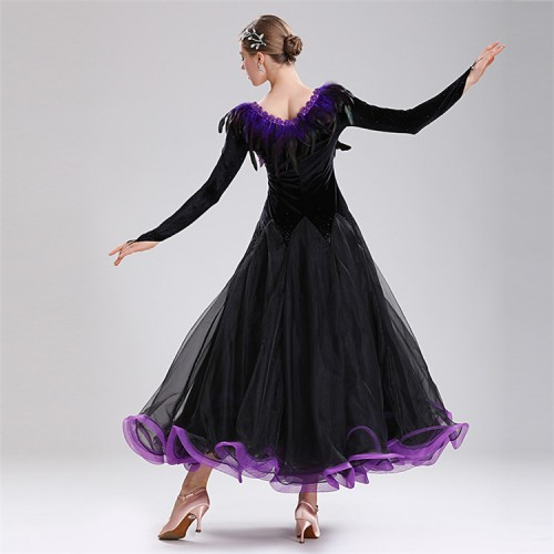 Black with purple girls women's competition professional ballroom dancing dresses feather with stones waltz tango dance dresses