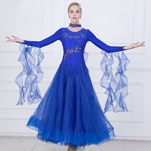 Girls women Red blue pink yellow ballroom dancing dresses waltz tango stage performance rhinestones dresses