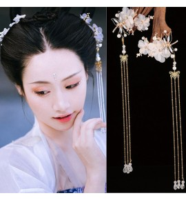 Women's girls chinese folk dance firnges flowers hair accessories fairy hanfu princess dress anime drama cospaly hair pin headdress