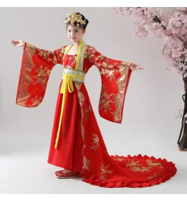 Girls chinese folk dance dresses  fairy cosplay dress tang princess empress drama cosplay trailing dress stage performance costumes