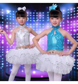 Girls silver turquoise sequin jazz dance costumes  outfits modern dance princess ballet stage performance dresses costumes