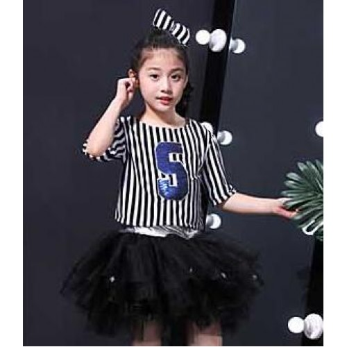 Boys girs striped jazz dance costumes school kids hiphop street dance outfits princess school competition stage performance dresses