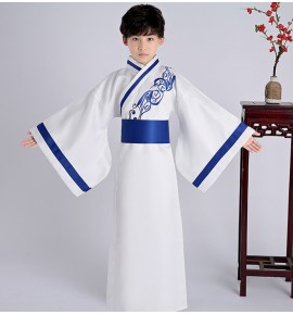 Hanfu boy kids children warrior drama cosplay robe stage performance korean japanese kimono dresses chinese folk robes dresses