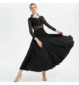 Women's girls red black colored ballroom dancing dresses competition professional waltz tango flamenco dresses