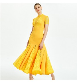 Women's girls ballroom dancing dresses yellow black violet lace diamond long sleeves competition ballroom waltz tango dance dresses