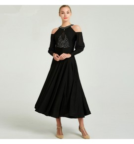 Women's ballroom dancing dresses black royal blue exposure shoulder long sleeves waltz tango dancing dresses