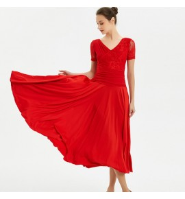 Women's girls ballroom dancing dresses short sleeves red blue colored waltz tango dance flamenco dress