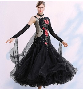 Women's girls ballroom dancing dresses waltz tango rose flowers diamond competition stage performance dresses