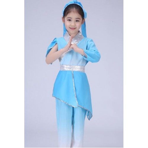 Hanfu Children chinese folk dance costumes confucius school  stage performance student cosplay uniforms robes dresses
