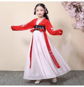girls traditional ancient hanfu princess chinese folk dance dresses japanese korean kimono drama cosplay dresses