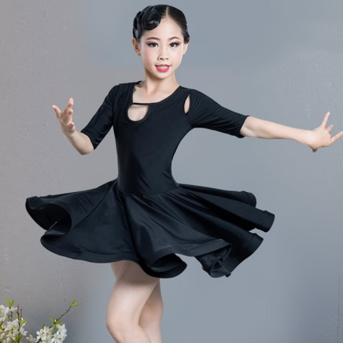 Girls wine black competition latin dance dresses kids children salsa rumba samba chacha dance dresses costumes