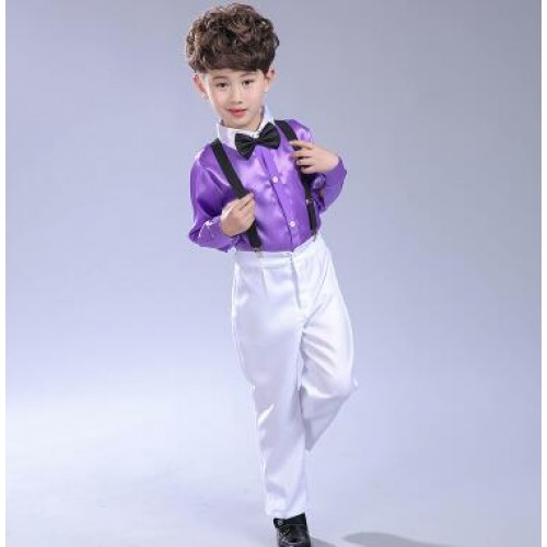 Boy kids children chorus singers kidnergarten performance shirts and pants host stage performance dress shirts and pants