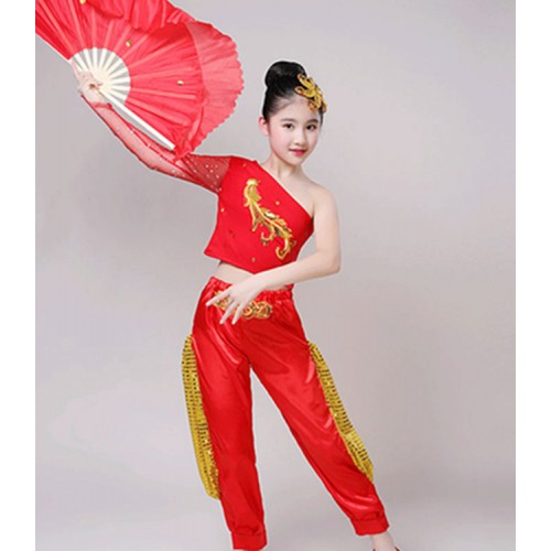 Girls chinese folk dance costumes stage performance ancient traditional yangko fan umbrella dance dresses