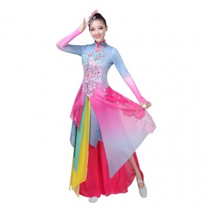 Hanfu Women's chinese folk dance costumes umbrella fan dress ancient traditional classical dance fairy drama cosplay  dresses
