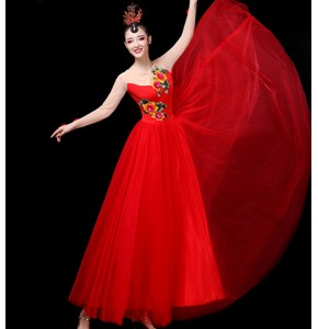Women's  red colored ancient chinese traditional classical dance costumes fairy classical fairy drama cosplay dresses