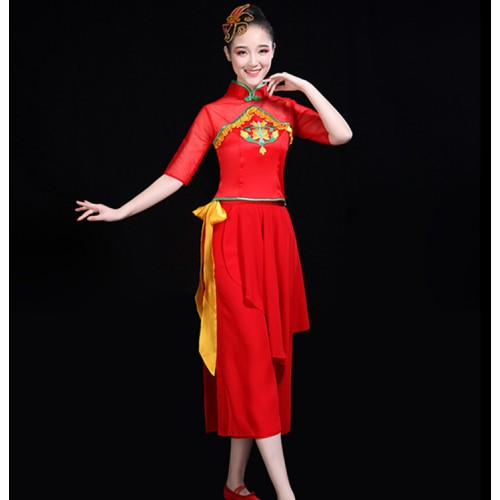 Women's red chinese folk dance costumes drummer dress ancient traditional yangko fan umbrella stage performance dresses costumes