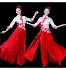 Women's red with white chinesse folk dance costumes drummer dress chinese style ancient traditional yangko fan umbrella costumes