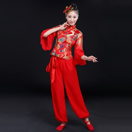 Women's chinese folk dance costumes dragon pattern yellow red chinese style drummer yangko fan stage performance dresses costumes