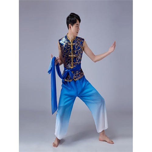 Men's chinese style folk dance cotumes male blue gradient classical ancient traditional taichi kungfu yangko dance costumes