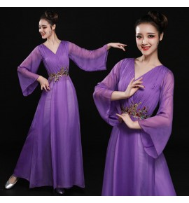 Hanfu Women's chinese folk dance costumes pink violet girls fairy  drama umbrella yangko stage performance dresses costumes