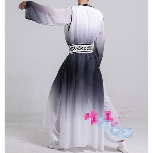 hanfu Men's chinese folk dance costumes tang dynasty traditional classical dance warrior martial drama cosplay robes dress