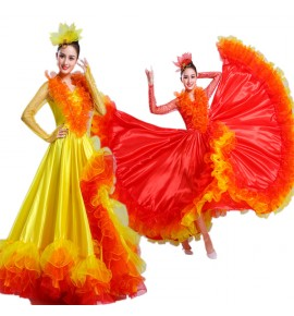 Women's red spanish flamenco dresses red yellow petal flowers spanish folk bull dance opening dance dresses