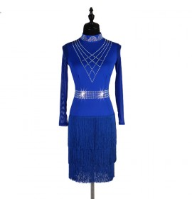 Women's girls diamond royal blue black latin dance dresses backless tassels salsa chacha rumba dance skirts dresses costumes
