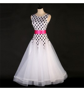 Women's girls polka dot white ballroom dancing dresses female kids  waltz tango flamenco stage performance competition long dresses