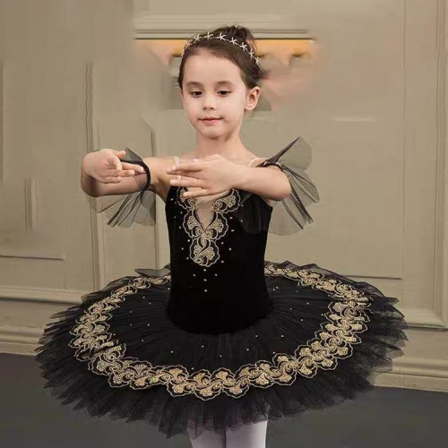 Girls black colored swan lake classical ballet dance dress kids children stage performance tutu skirts pancake professional dance skirts costumes