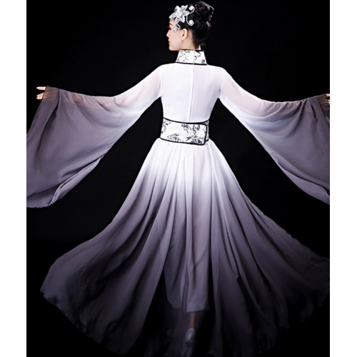 Women's Hanfu black with white gradient chinese folk dance costumes stage performance drama cosplay ancient traditional fairy dress