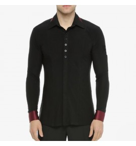 Men's black with wine ballroom latin dance shirts tops