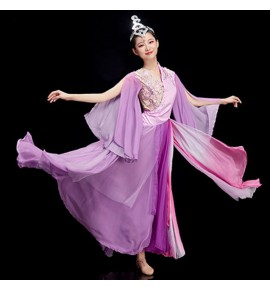 Women's girls violet chinese folk dance costumes oriental ancient fairy princess drama cosplay dresses
