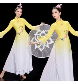 Women's girls chinese dress china traitional  oriental qipao cheongsam fan classical dance performing dresses