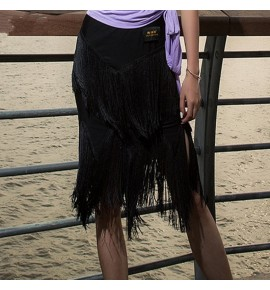 Women's black fringes latin rhythm latin dance skirts